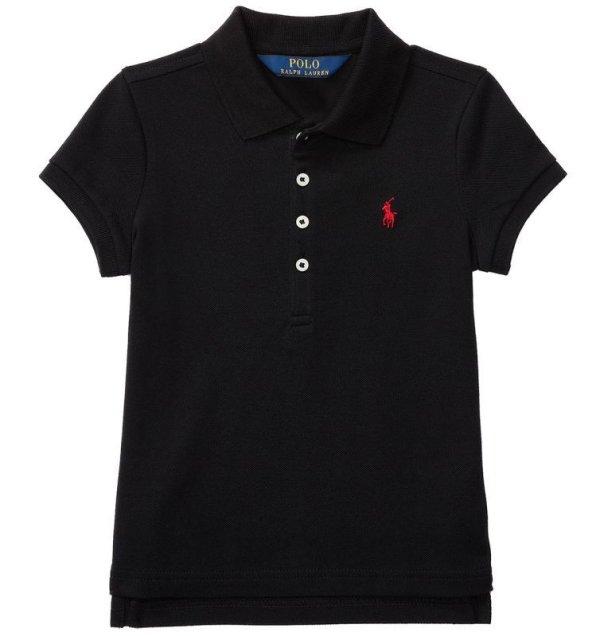 画像1: ★メール便無料★【ラルフローレン】ストレッチメッシュ半袖ポロシャツ(ブラック)<2T-SIZE6>