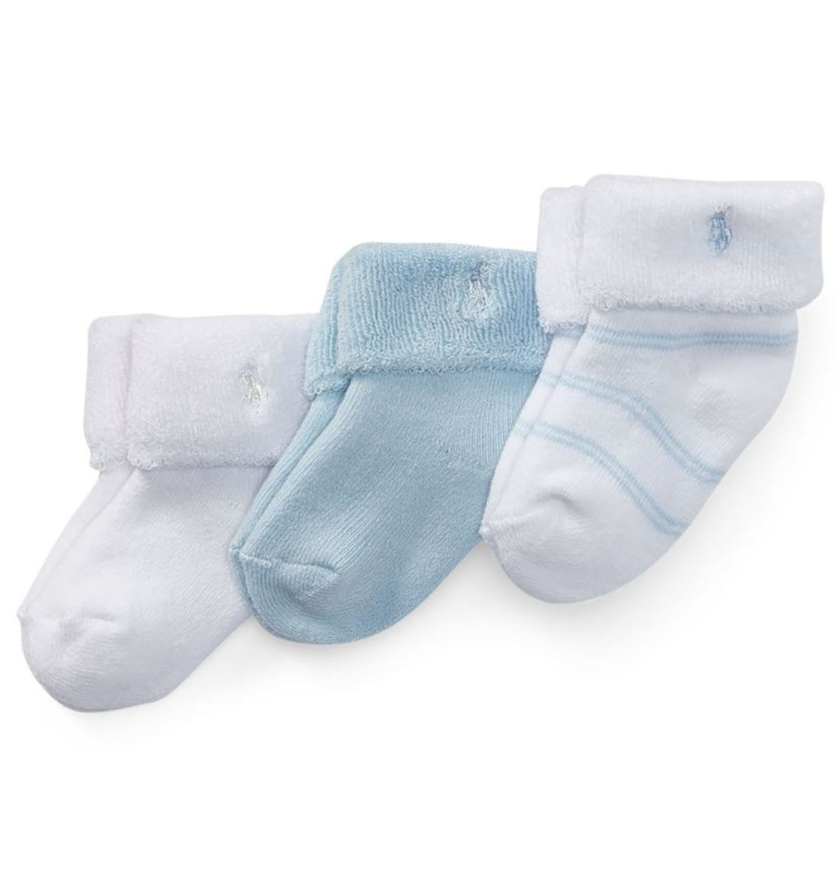 【ラルフローレン】ストライプテリーソックス(靴下)(3足セット)<6-12カ月>