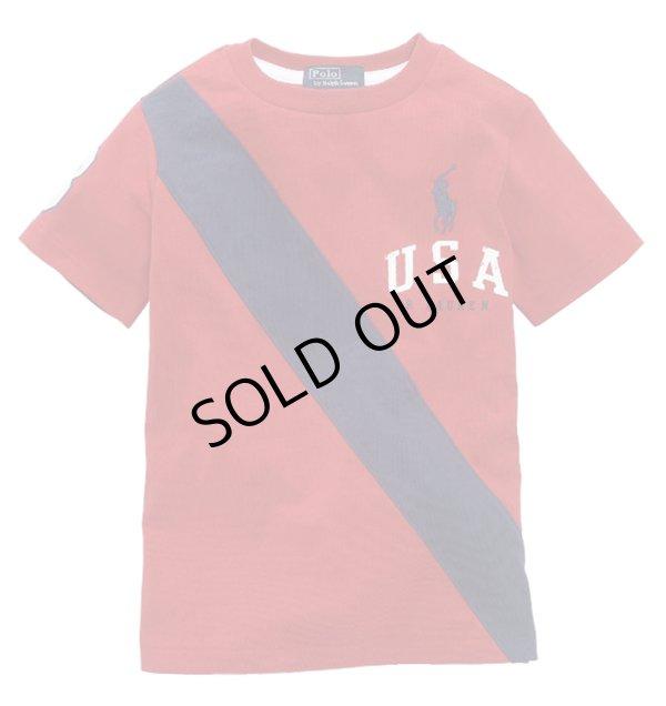 画像2: ★メール便送料無料★【ラルフローレン】ビッグポニーUSAバナー半袖Tシャツ(レッド)<2T>