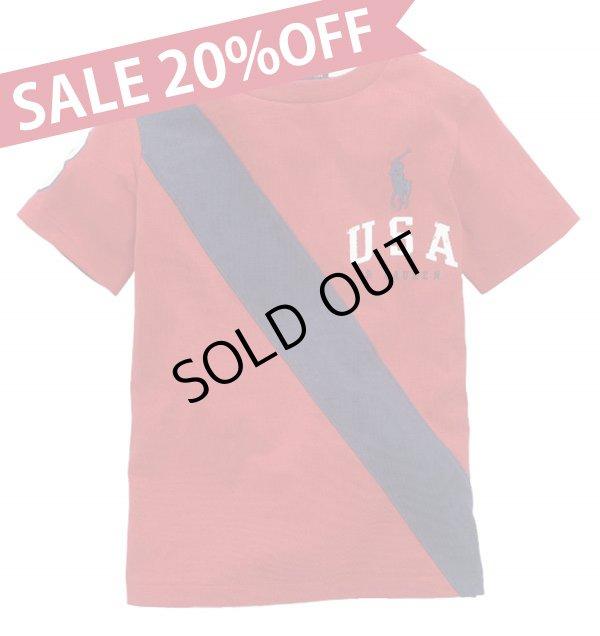 画像1: ★メール便送料無料★【ラルフローレン】ビッグポニーUSAバナー半袖Tシャツ(レッド)<2T>
