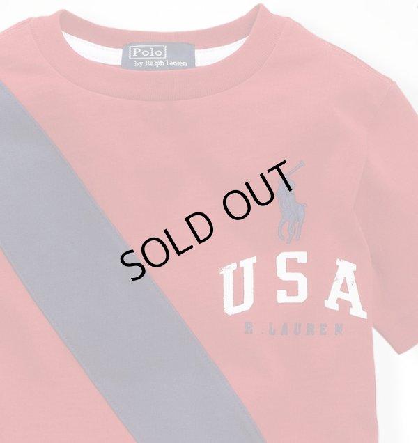 画像3: ★メール便送料無料★【ラルフローレン】ビッグポニーUSAバナー半袖Tシャツ(レッド)<2T>