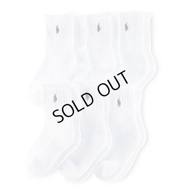 画像1: 【ラルフローレン】クラシッククルーソックス/靴下(6足セット)<ホワイト>16-19cm