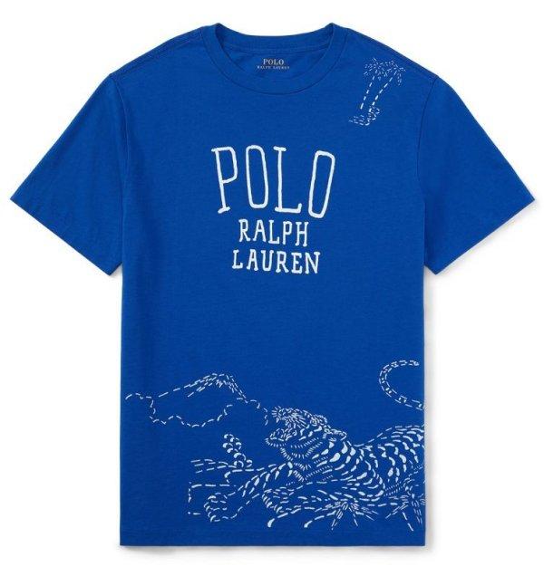 画像2: ★メール便無料★【ラルフローレン】半袖コットン和風グラフィックTシャツ(ブルー)<S-XL>