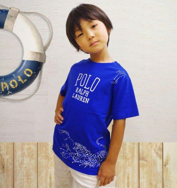 画像2: ★メール便無料★【ラルフローレン】半袖コットン和風グラフィックTシャツ(ブルー)<SIZE5-7>