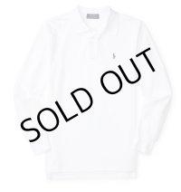 ★メール便無料★【ラルフローレン】コットンメッシュ長袖ポロシャツ(ホワイト)<S-XL>