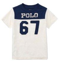 ★メール便無料★【ラルフローレン】半袖コットンPOLO67Tシャツ(ホワイト×ネイビー)<2T-SIZE7>