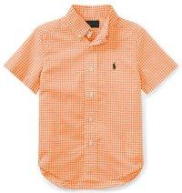 【ラルフローレン】半袖 ギンガム ストレッチ コットンシャツ(オレンジ)<2T-SIZE7>