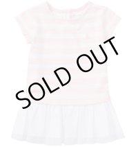 ★メール便無料★ストライプド ジャージーTシャツドレス(ピンク)<12-24カ月>