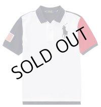 ★メール便無料★【ラルフローレン】半袖ビッグポニーカラーブロックコットンポロシャツ(ホワイト)<S-M>