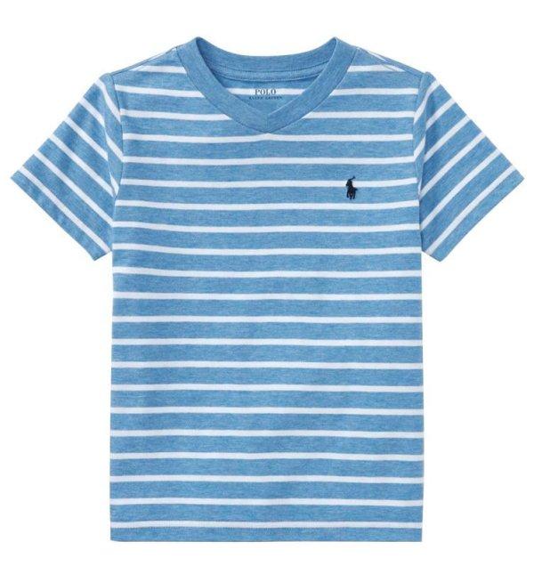 画像1: ★メール便送料無料★【ラルフローレン】半袖ストライプコットンジャージーTシャツ(ブルーマルチ)<2T-SIZE7>