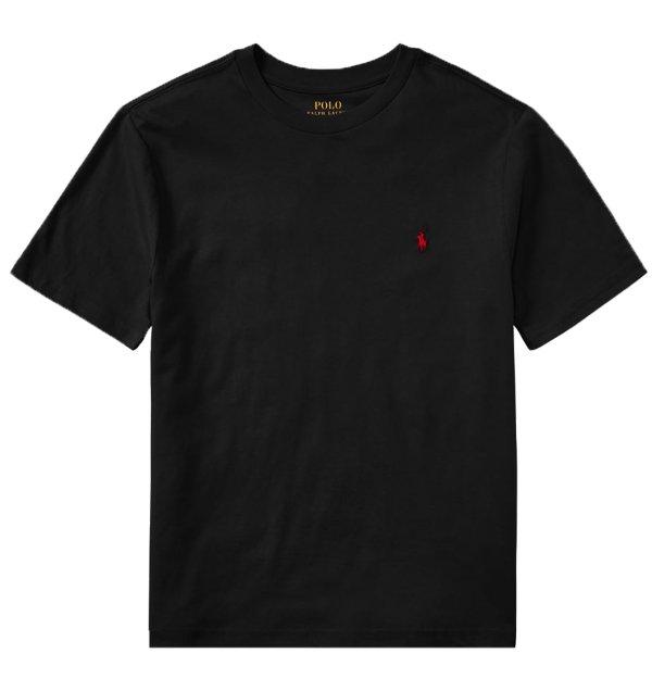 画像1: ★メール便無料★【ラルフローレン】半袖コットンクルーネックTシャツ(ブラック)<S-XL>