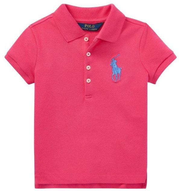 画像1: ★メール便無料★【ラルフローレン】半袖ビッグポニー ポロシャツ(ピンク)<2T-SIZE6X>