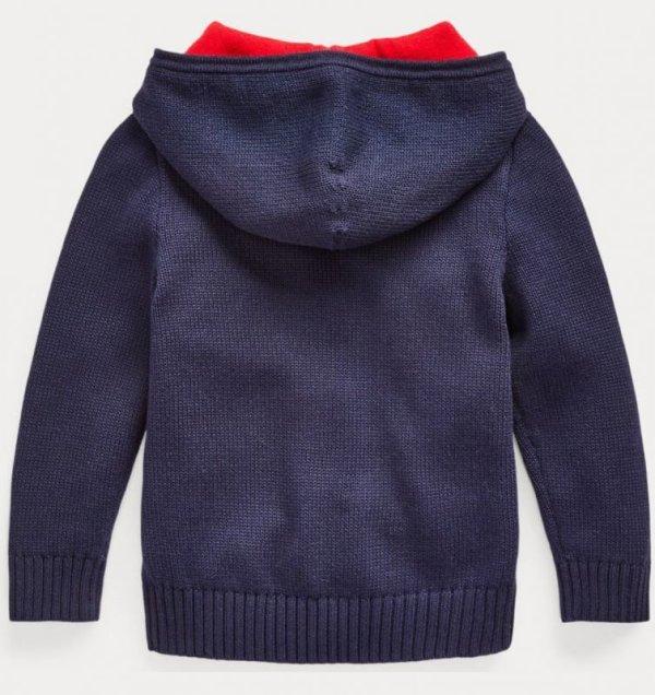 画像4: 【ラルフローレン】コットン フード セーター(ネイビー)